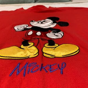 Disney Mickey Mouse Red Embroidered Tee Sz XXL